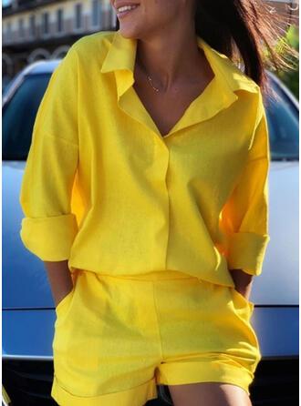 Einfarbig Taschen Übergröße Lässige Kleidung Sportlich Anzüge