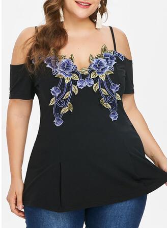 Blumen Druck Schulterfrei Kurze Ärmel Lässige Kleidung Große Größen Blusen