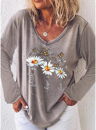 Mit Tierdruck Figur Blumen V-Ausschnitt Lange Ärmel T-Shirts