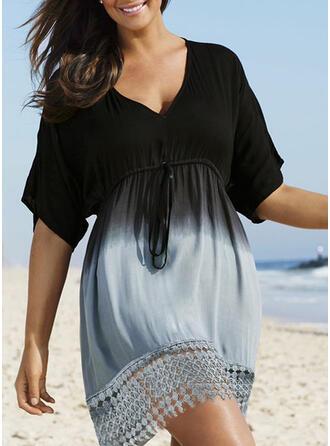 Große Größen Spitze Gradient 1/2 Ärmel A-Linien-Kleid Über dem Knie Lässige Kleidung Urlaub Kleid