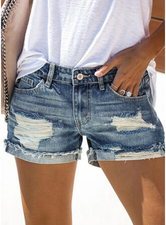 Übergröße Zerrissen Sexy Baumwollstoff Kurze Hose Denim Jeans