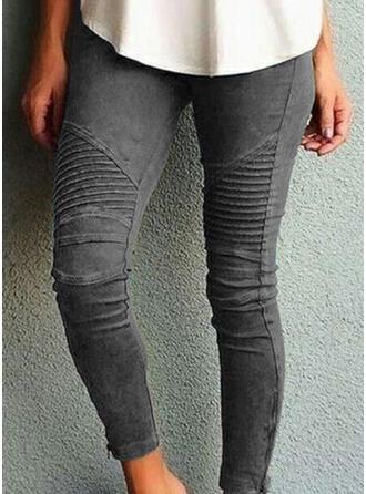 gestreift Shirred Übergröße Dünn Yoga Einfach Denim Jeans