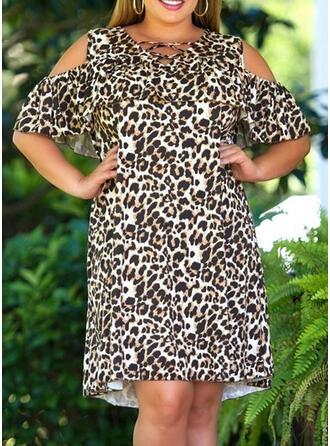 Große Größen Leopard 1/2 Ärmel Etuikleider Knielang Lässige Kleidung Kleid