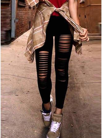 Einfarbig Zerrissen Dünn Jahrgang Hosen