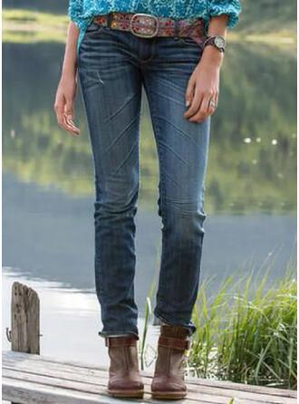 Shirred Übergröße Lange Elegant Stammes Denim Jeans