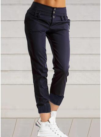 Einfarbig Taschen Übergröße Lässige Kleidung Jahrgang Hosen