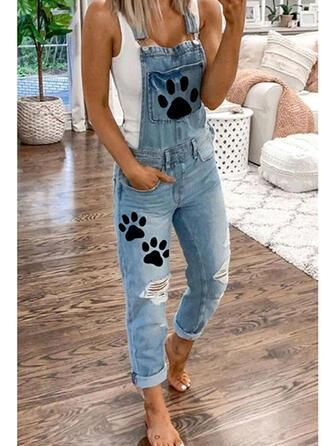 Tierdruckmuster Taschen Übergröße Zerrissen Lässige Kleidung Einfarbig Denim Jeans Overalls & Strampler