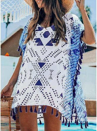 Kariert Spleiß Farbe Rundhalsausschnitt Frisch Strandmode Bademode