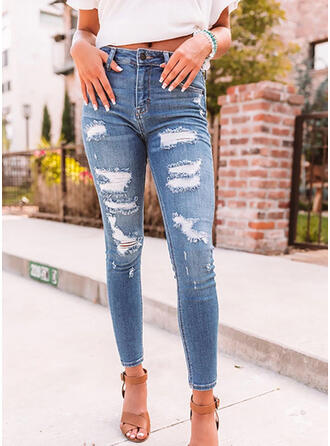 Shirred Zerrissen Elegant Sexy Denim Jeans
