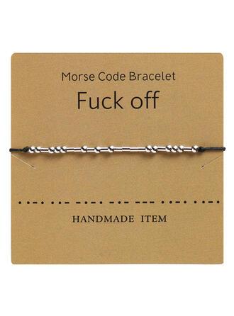 Einfache Morse-Code Legierung Flechtschnur Frauen Armbänder
