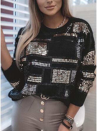 Pailletten Rundhalsausschnitt Freizeit Pullover