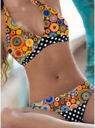 Punkt Drucken Neckholder V-Ausschnitt Übergröße Bunt Retro Bikinis Bademode