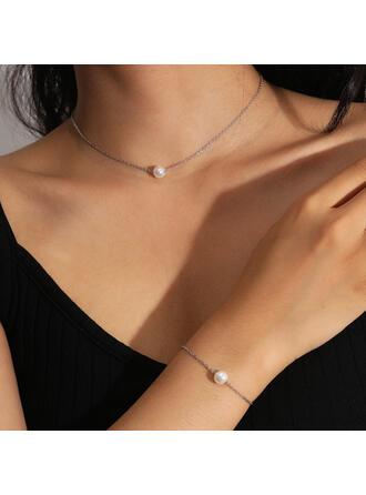 Sexy Jahrgang Klassische Art Kartengestaltung Legierung Faux-Perlen mit Nachahmungen von Perlen Frauen Damen Halsketten Armbänder 2 STÜCK