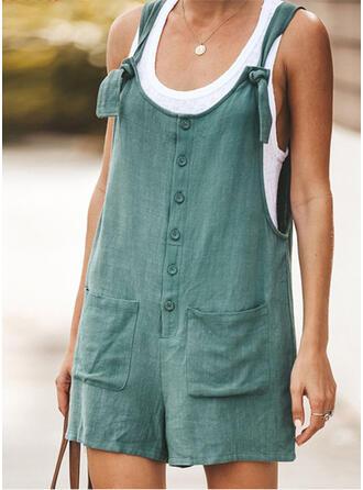 Einfarbig Träger Ärmellos Lässige Kleidung Urlaub Strampler